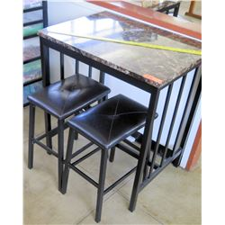 Stone & Metal Table w/ 2 Stools (Rm-402)