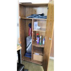 Wood 2 Door Shelf w/ Contents - Vacuum, etc (Rm-402)