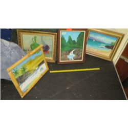 Qty 4 Framed Original Paintings (RM-Theater)
