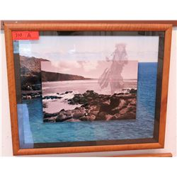 "Framed Photographic Hula Dancer/Ocean Print ""22.5 x 19"" (RM-101)"