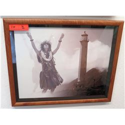 "Framed Photographic Hula Dancer Print ""22.5 x 19"" (RM-101)"