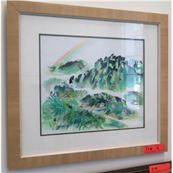 "Framed Art: Mountain Scene w/ Rainbow 21.5"" x 19.5"" (RM-101)"