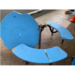 Round Blue Outdoor Picnic Table - Broken (BK of AUDITORIUM)