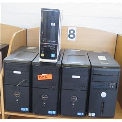 Computers: 4 Dell & 1 HP, Complete, Windows 10 Trial Installed (RM-402)