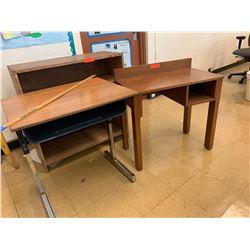 Wooden Desk, Table & Bookcase