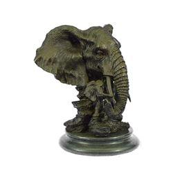 """Bronze Metal Elephant Bust Sculpture 8"""" x 8"""""""