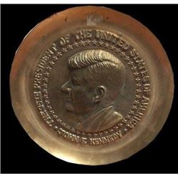 President John F Kennedy Brass Commemorative Decorator Plate Plaque 1960's JFK