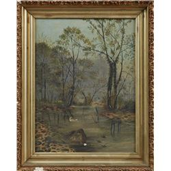 """Southern School, """"King Fisher In A Swamp Landscape,"""" 19th C., Oil On Canvas"""