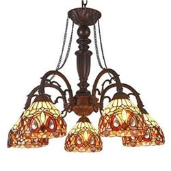 """Tiffany-style 5 Light Victorian Large Chandelier 27"""" Wide"""