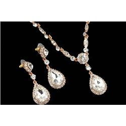 Elegant Rose Gold Plated Clear Czech Crystal Wedding Necklace & Earrings Jewelry Set