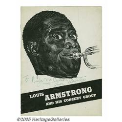 Louis Armstrong Signed Program. Featured is a pro