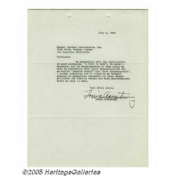 Louis Armstrong Signed Document. A one-page docum