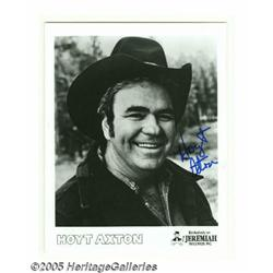 "Hoyt Axton Signed Photograph. An 8"" x 10"" black a"