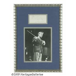 Leonard Bernstein Signed Music Quote with Photogr
