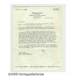Irving Caesar Signed Letter. One of George Gershw