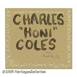 "Charles ""Honi"" Coles Signed Fan Art. A paint-on-i"