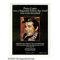 Perry Como Signed Ad. Signed full-page color ad f