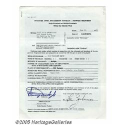 Sammy Davis Jr. Signed Contract. Here is a standa