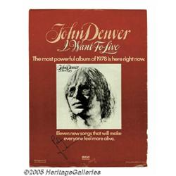 John Denver Signed Ad. Signed full-page color pro