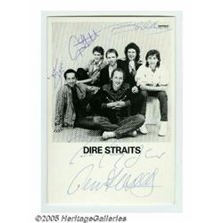 "Dire Straits Signed Photograph. A 3"" x 5"" black-a"