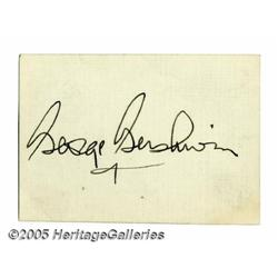 George Gershwin Autograph. Offered is a large, bo