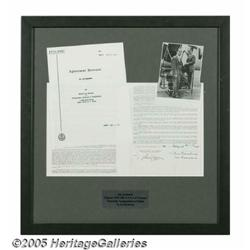 Ira Gershwin Signed and Framed Contract. A 1976-8