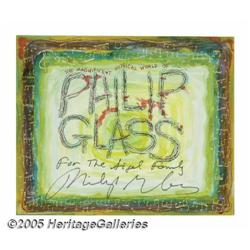 Philip Glass Signed Fan Art. A paint-on-illustrat