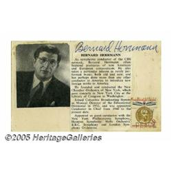 Bernard Herrmann Signed Card. While he wrote for