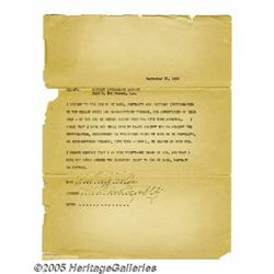 Billie Holiday Signed Document. Featured here is