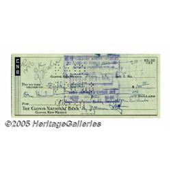 Buddy Holly Signed Crickets Payroll Checks. Altho