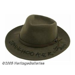 John Lee Hooker Signed Hat. Rarely seen without o