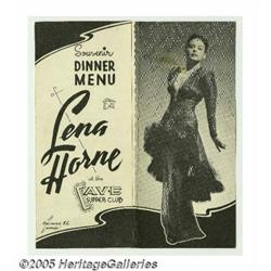 Lena Horne Signed Program. Singer-actress Lena Ho