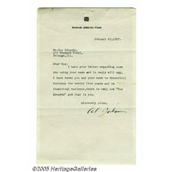 Al Jolson Signed Letter. Here is a letter typed o