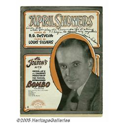 "Al Jolson Signature Sample with ""April Showers"" S"