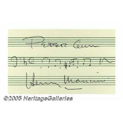 Henry Mancini Signed Music Quote. One of the grea