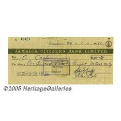 Bob Marley and Allan Cole Signed Check. Personal