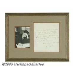 Darius Milhaud Signed Letter with Photograph. Com