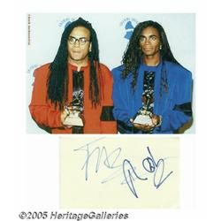 Milli Vanilli Signed Card with Photograph. When d