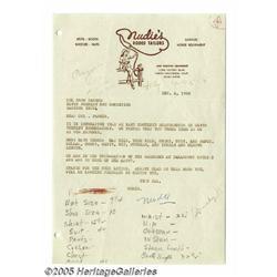 Nudie Cohn Signed Letter. Dated December 4, 1956,
