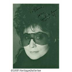 "Yoko Ono Signed Photograph. A signed 3"" x 5"" phot"