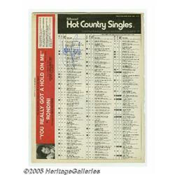 Johnny Paycheck Signed Billboard Chart. Billboard