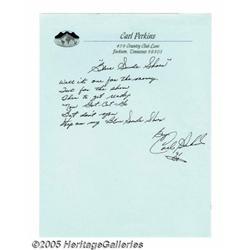 "Carl Perkins ""Blue Suede Shoes"" Handwritten Lyric"