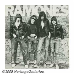 Ramones Signed LP Cover. A copy of their 1976 sel