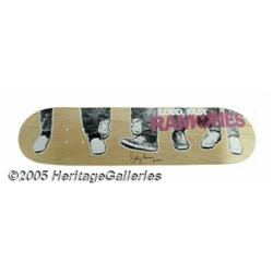 Ramones Signed Skateboard. Featured here is a ska