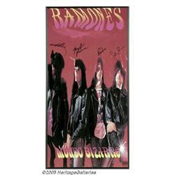 Ramones Signed Poster. A framed promotional poste
