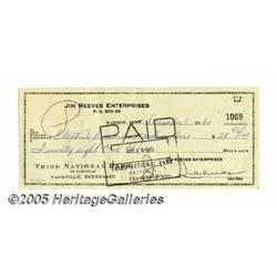 Jim Reeves Signed Check. Jim Reeves was perhaps t