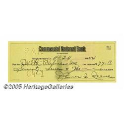 Jim Reeves Signed Check. Signed by Reeves, dated