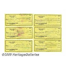 Jim Reeves Personal Checks. Six checks written on