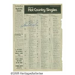 Charlie Rich Signed Billboard Chart. Signed Billb