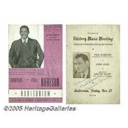 Paul Robeson Signed Programs. Two programs for li